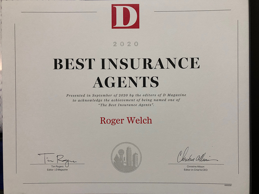 roger welch insurance award